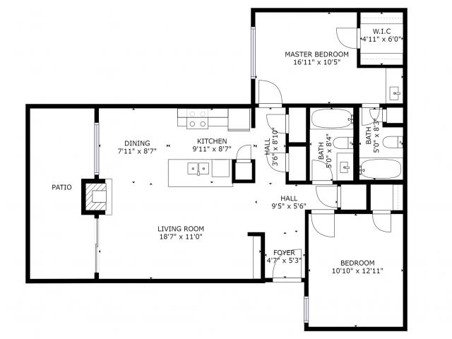 B2 Floorplan: 2 Bedroom, 2 Bathroom - 955 sqft