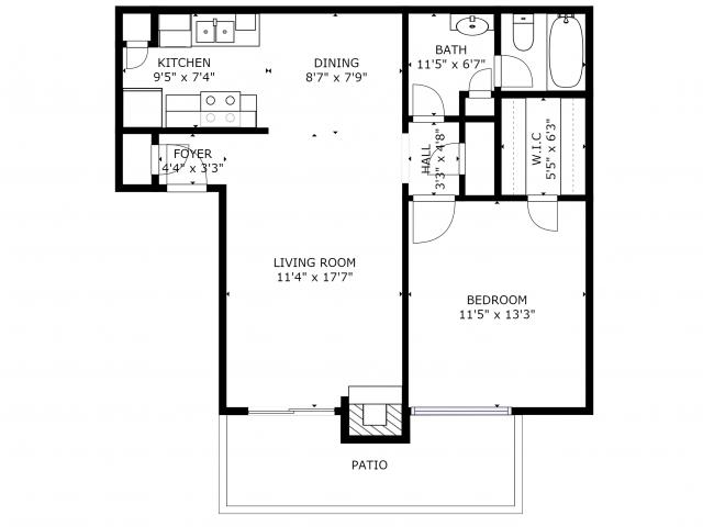A1 Renovated Floorplan: 1 Bedroom; 1 Bathroom - 667sqft
