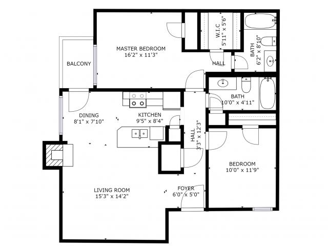 B1 Renovated Floorplan: 2 Bedrooms, 2 Bathroom - 940 sqft