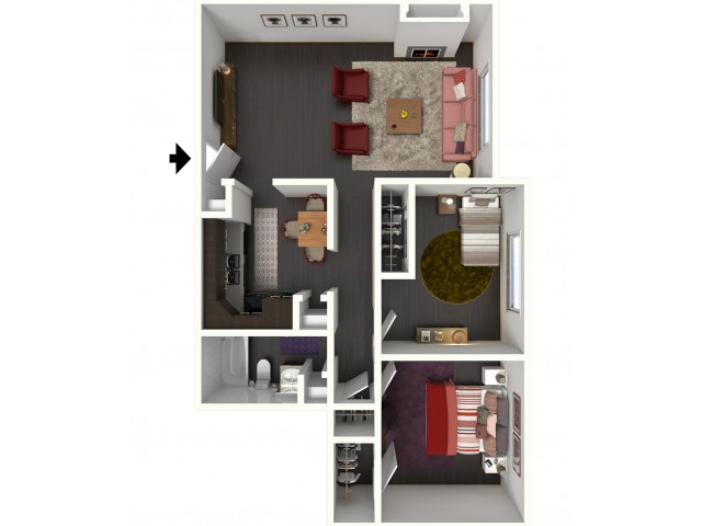 B1 Renovated Floorplan: 2 Bedroom, 1 Bathroom - 850 sqft