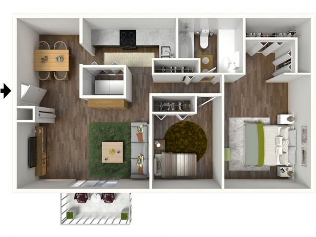 B1 Renovated Floorplan: 2 Bedroom, 1 Bathroom, 888sqft
