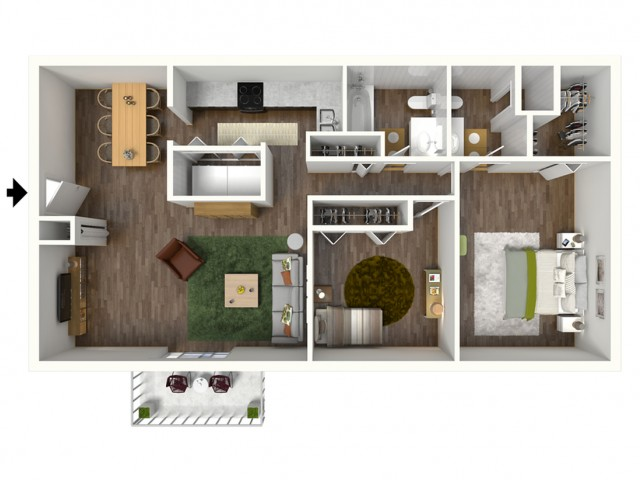 B2 Renovated Floorplan: 2 Bedroom, 2 Bathroom, 1000sqft
