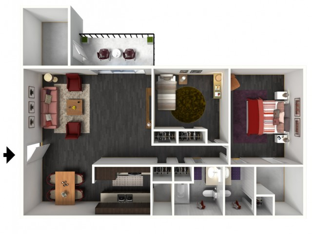 2X2C Renovated Floorplan: 2 Bedroom, 2 Bathroom - 1049 sqft