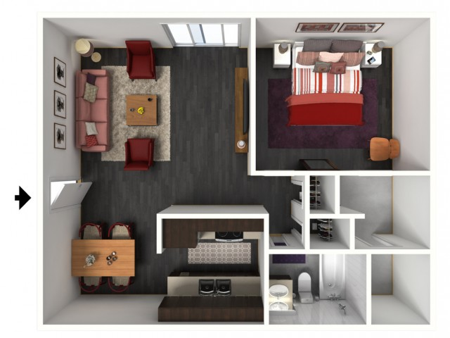 1X1C Renovated Floorplan: 1 Bedroom, 1 Bathroom - 750 sqft