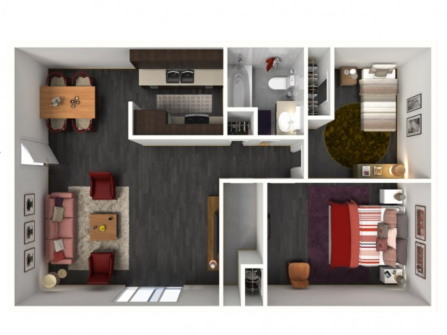 2X1A Floorplan: 2 Bedroom, 1 Bathroom - 947 sqft