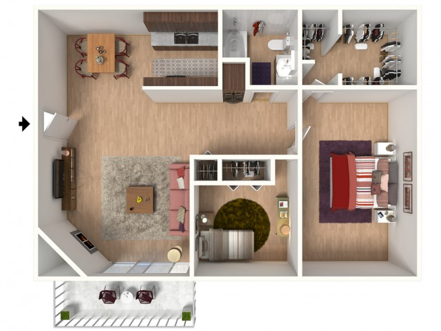 B1 Renovated Floorplan: 2 Bedroom, 1 Bathroom - 912 sqft
