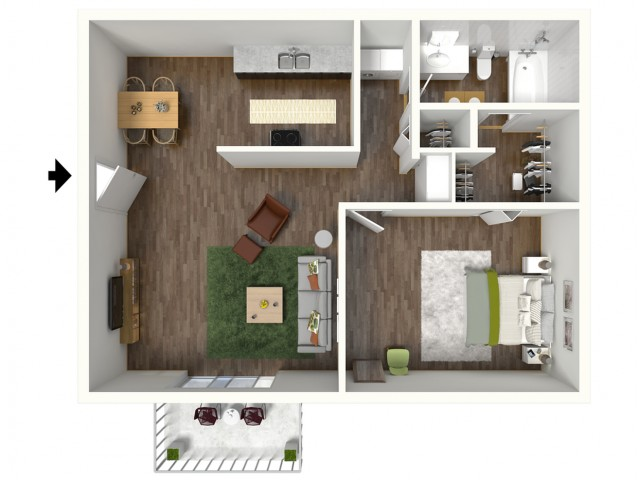 A1 Modern Renovation Floorplan: 1 Bedroom, 1 Bathroom, 652sqft