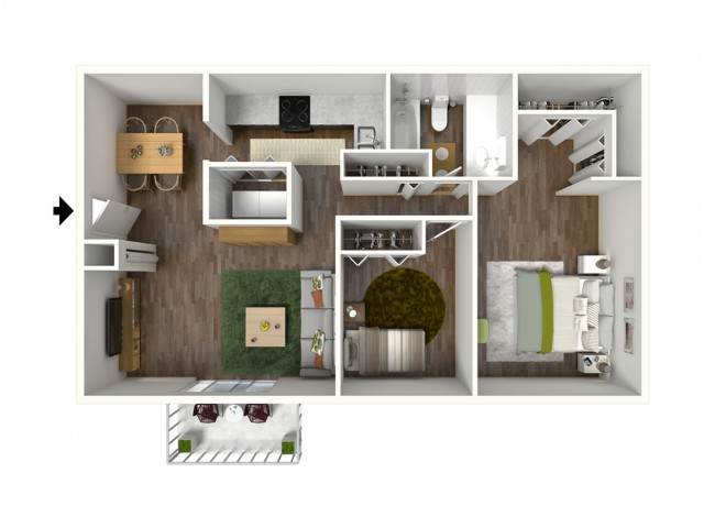 B1 Modern Renovation Floorplan: 2 Bedroom, 1 Bathroom, 888sqft