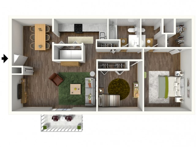 B2 Modern Renovation Floorplan: 2 Bedroom, 2 Bathroom, 1000sqft
