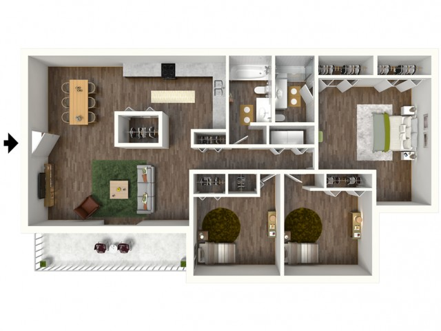C1 Modern Renovation Floorplan: 3 Bedroom, 2 Bathroom, 1330sqft