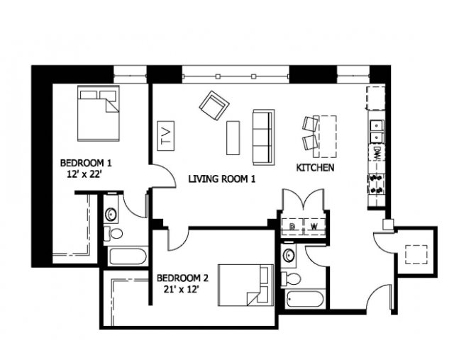 for the 2 Bedroom 2 Bathroom Lofts  Affordable Income  floor plan. 2 Bed   2 Bath Apartment in SAINT LOUIS MO   Cupples Apartments