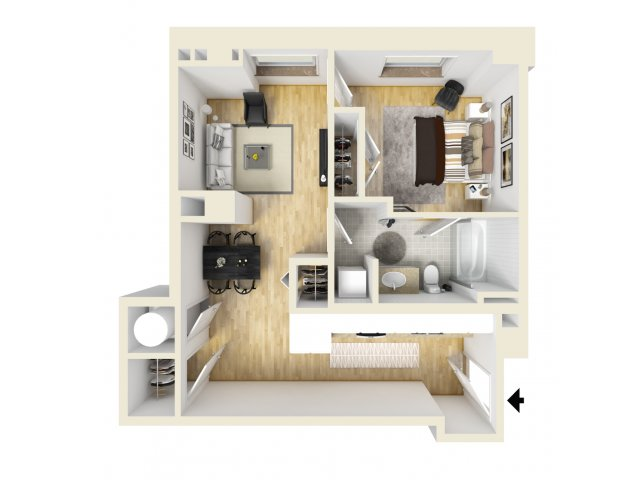 1 Bedroom Floor Plan | The Strand