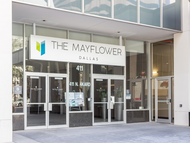 Image of Convenient Controlled Access Entrance with Visitor Callbox for The Mayflower