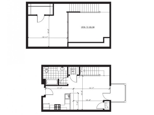 Lofted 1 Bed 1 Bath - G