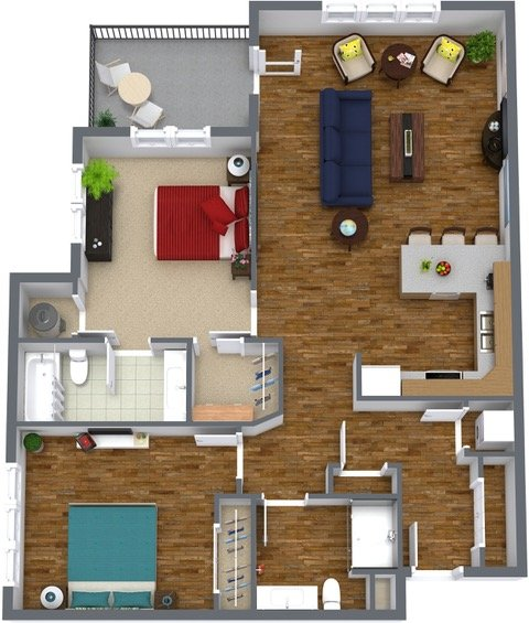 Two Bedroom Two Bathroom Floorplan