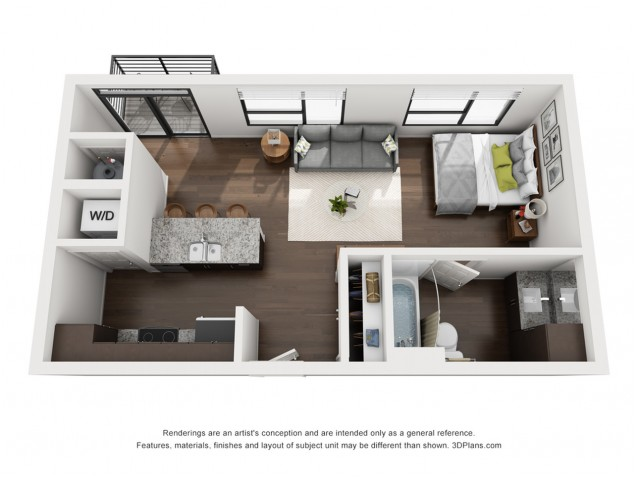 This bright and open floor plan is available on the 2nd or 3rd floor.
