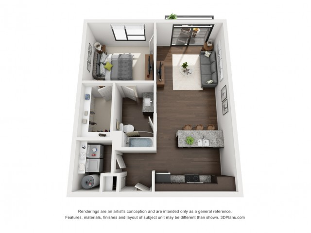 This gorgeous and bright one bedroom is located on each floor.