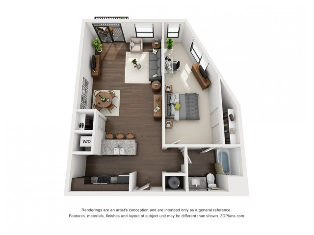 This stunningly unique floor plan is located on all floors and includes a lovely view of the community courtyard.