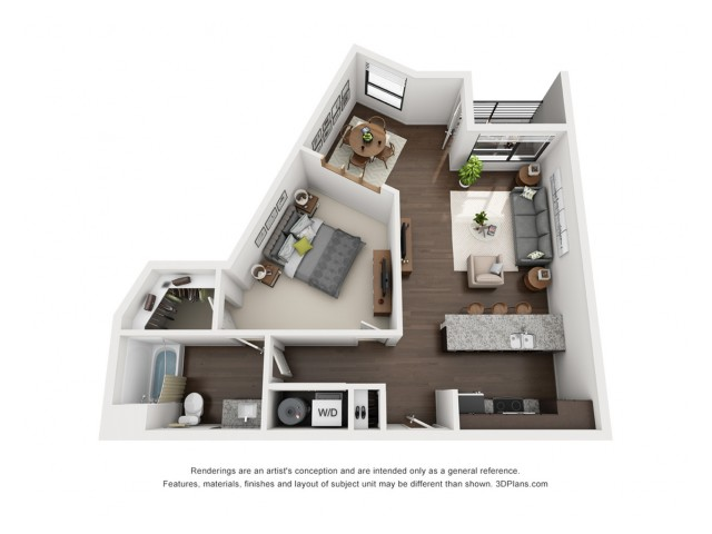 This sophisticated 1 bedroom is available on the 3rd, 4th and 5th floors.