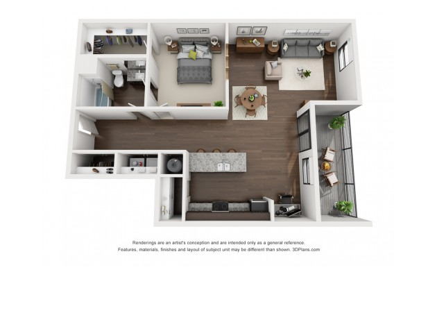 This one of a kind 1 bedroom floor plan is available on the fourth floor only.