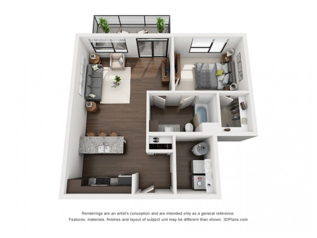 This stylish and spacious 1 bedroom floor plan is available on the top floor.