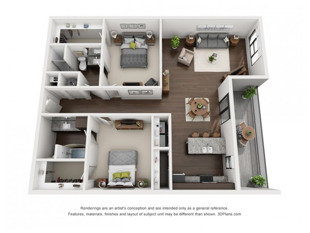 This airy 2 bedroom floor plan is perfect for entertaining and is located on the 4th floor.