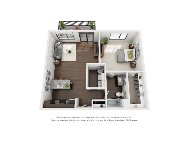 This open 1 bedroom floor plan includes a gorgeous view of the canal from the very top floor.