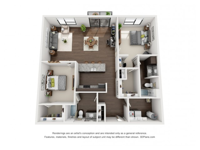 This chic 2 bedroom floor plan is available on all floors and includes an alluring view of the canal.