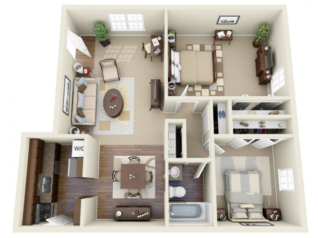 2 Bdrm Floor Plan   Apartments For Rent In Athens GA   Legacy of Athens