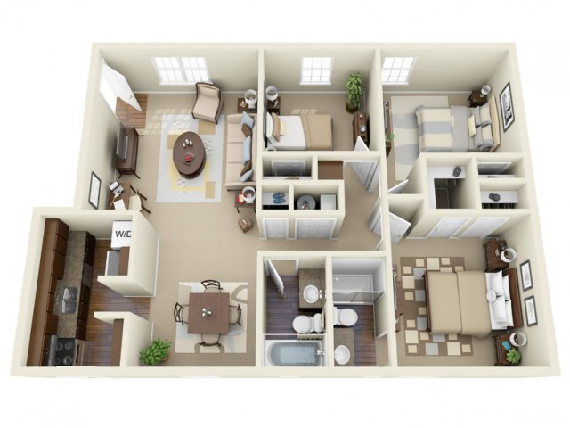 3 Bedroom Floor Plan | Athens GA Apartments | Legacy of Athens