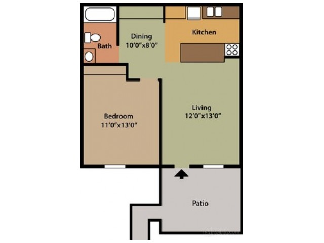 1 Bedroom Floor Plan | Apartments In Columbus Ohio | Chatham Village