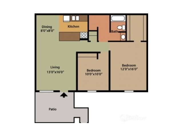 2 Bedroom Floor Plan | Apartments Columbus Ohio | Chatham Village