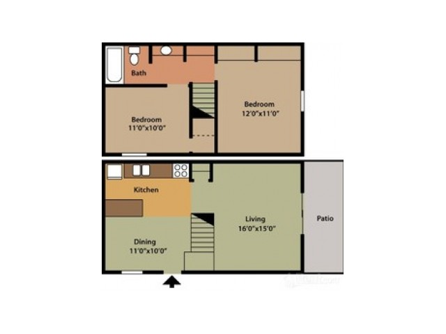 2 Bdrm Floor Plan | Columbus Apartments | Chatham Village