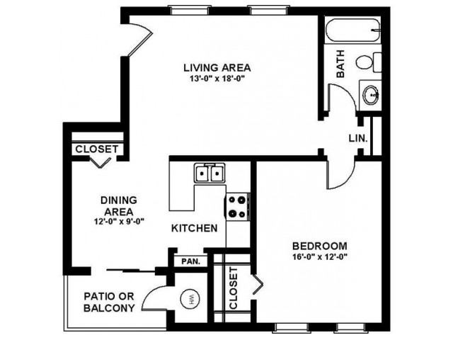1 Bedroom Floor Plan | Apartments In Augusta GA | Millbrook Pointe