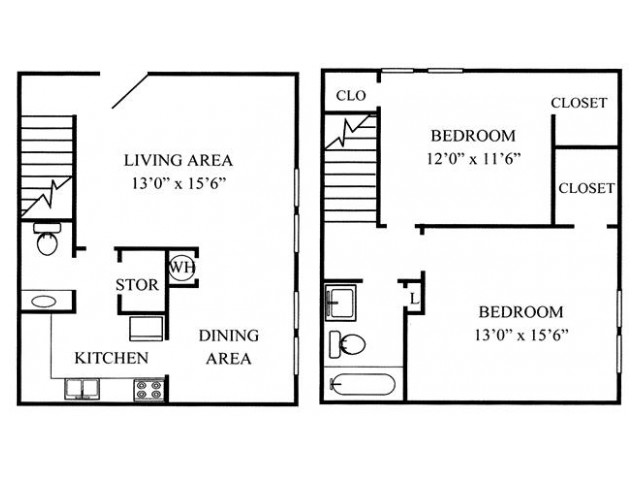 2 Bdrm Floor Plan | Augusta Apartments | Millbrook Pointe