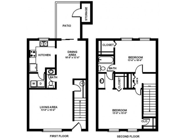 2 Bed Floor Plan | Apartments In Augusta GA | Millbrook Pointe