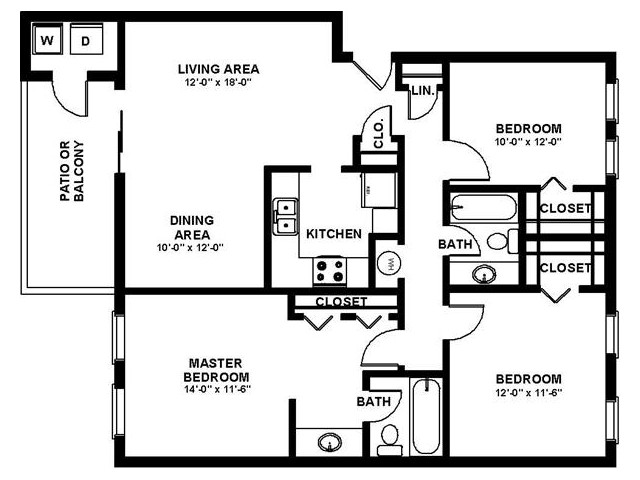 3 Bedroom Floor Plan | Apartments In Augusta Georgia | Millbrook Pointe
