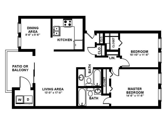 2 Bedroom Floor Plan | Apartments Augusta GA | Millbrook Pointe