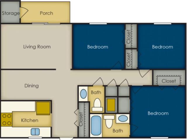 3 Bedroom Floor Plan | Olympia Village
