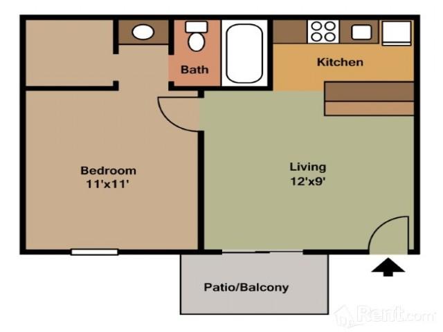 1 Bedroom Floor Plan | Apartments In Pasadena | Crossings Sun Meadow