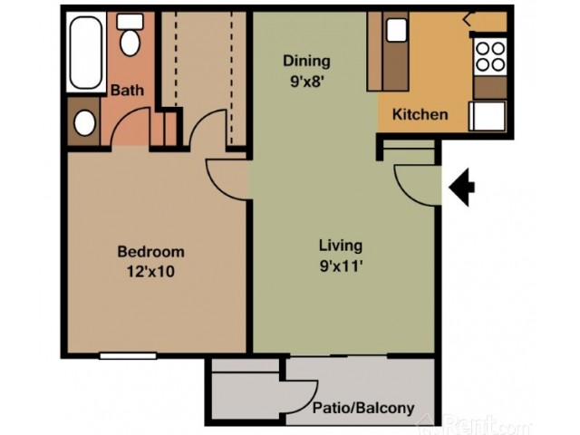 1 Bdrm Floor Plan | Pasadena Apartments | Crossings Sun Meadow