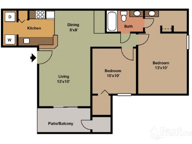 2 Bedroom Floor Plan | Apartments In Pasadena TX | Crossings Sun Meadow