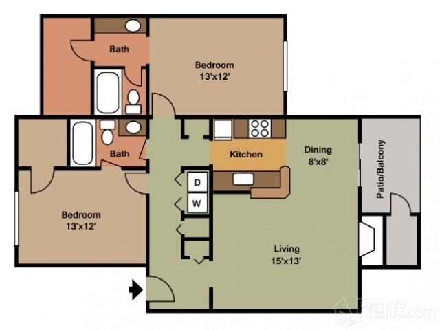 2 Bedroom Floor Plan | Apartments In Pasadena TX | Crossings Sun Meadow 1