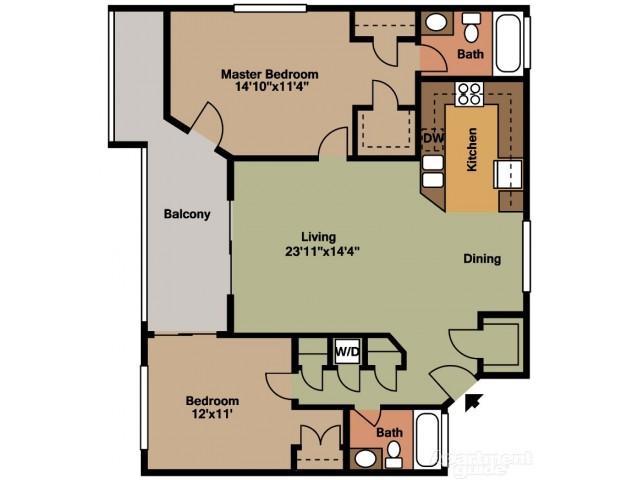Floor Plan 4 | Tamarac Apartments | Midora at Woodmont