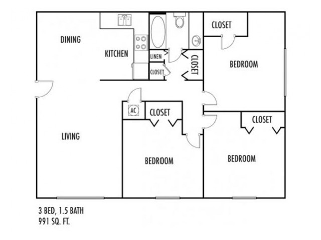 3 Bedroom Floor Plan | Rental Properties In Spartanburg | Hidden Park