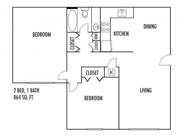 2 Bedroom Floor Plan | Spartanburg SC Rentals | Hidden Park