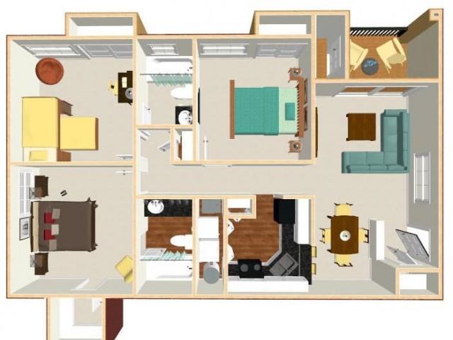 Floor Plan 14 | Apt For Rent Orlando | Auvers Village