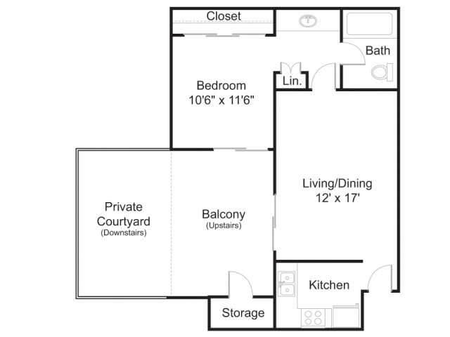 Floor Plan 1 | Tucson Apt | Brookwood