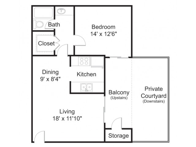 Floor Plan 2 | 1 Bedroom Apartments In Tucson | Brookwood