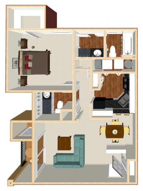 Floor Plan 23 | Apt For Rent Orlando | Auvers Village